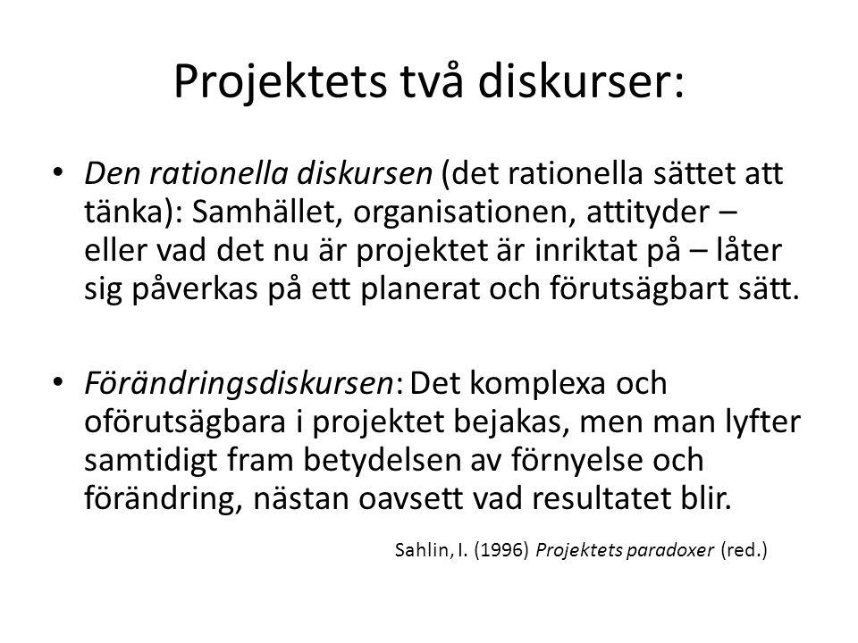 Projektets två diskurser: Den rationella diskursen (det rationella sättet att tänka): Samhället, organisationen, attityder – eller vad det nu är projektet är inriktat på – låter sig påverkas på ett planerat och förutsägbart sätt.