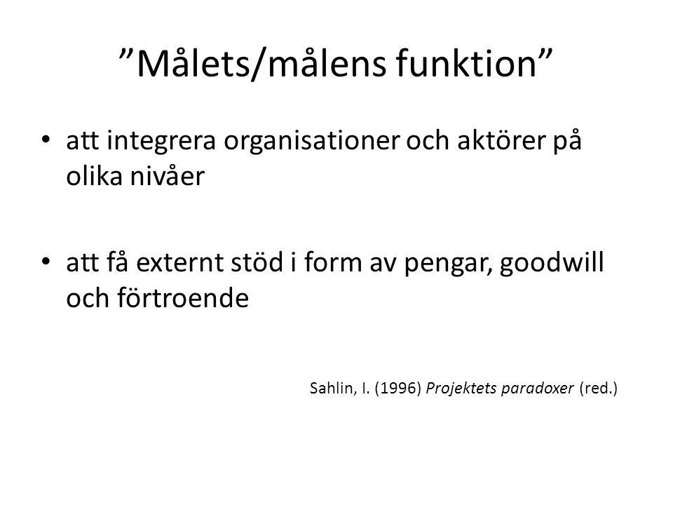 """""""Målets/målens funktion"""" att integrera organisationer och aktörer på olika nivåer att få externt stöd i form av pengar, goodwill och förtroende Sahlin"""