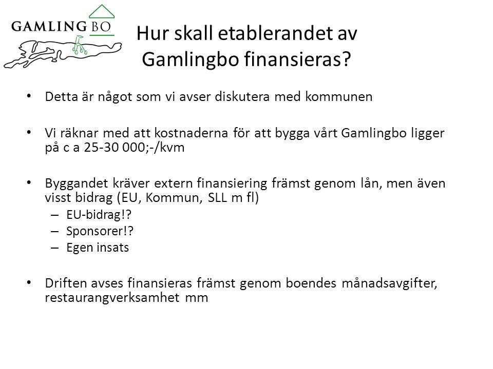 Hur skall etablerandet av Gamlingbo finansieras.