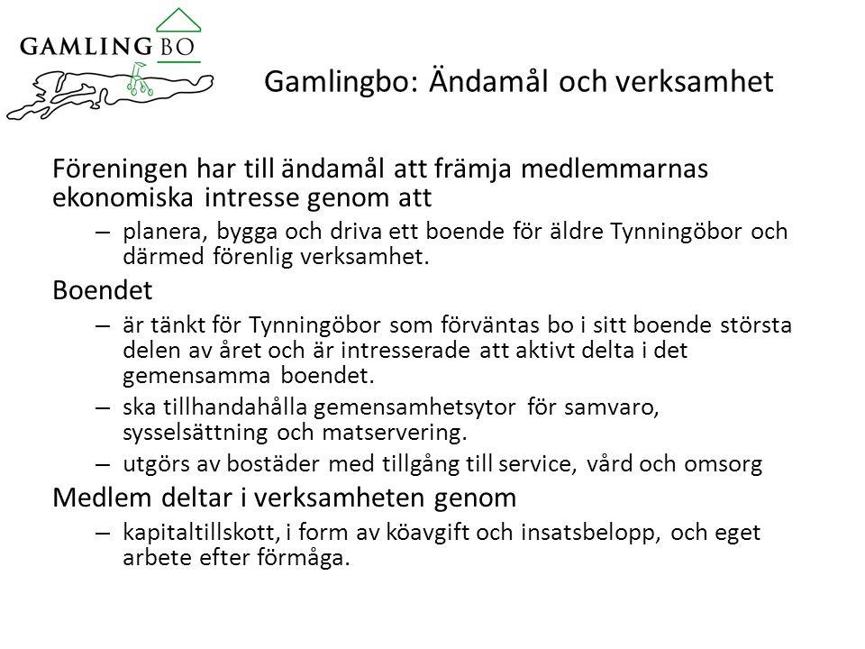 Gamlingbo: Ändamål och verksamhet Föreningen har till ändamål att främja medlemmarnas ekonomiska intresse genom att – planera, bygga och driva ett boende för äldre Tynningöbor och därmed förenlig verksamhet.