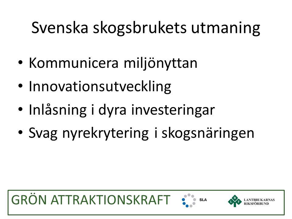 Svenska skogsbrukets utmaning Kommunicera miljönyttan Innovationsutveckling Inlåsning i dyra investeringar Svag nyrekrytering i skogsnäringen GRÖN ATTRAKTIONSKRAFT