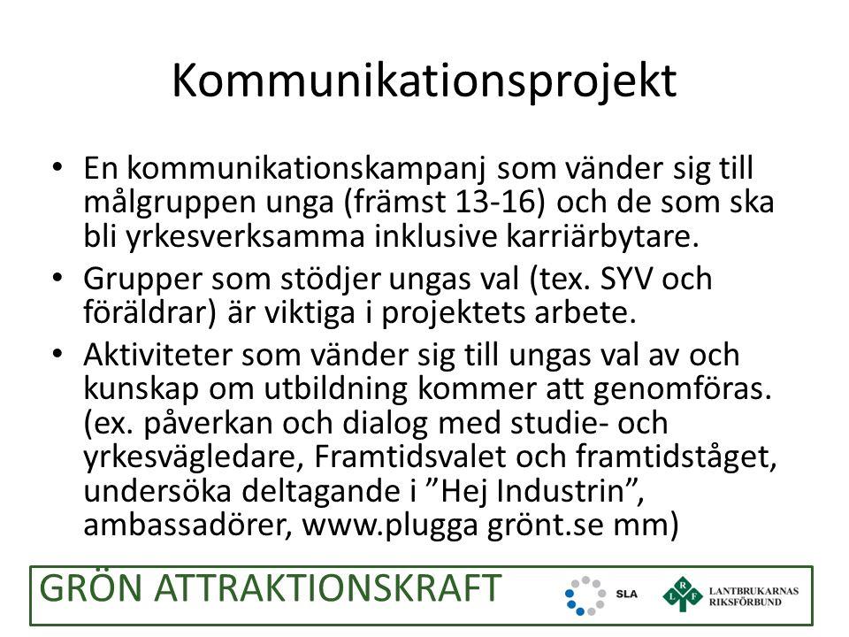 Kommunikationsprojekt En kommunikationskampanj som vänder sig till målgruppen unga (främst 13-16) och de som ska bli yrkesverksamma inklusive karriärbytare.