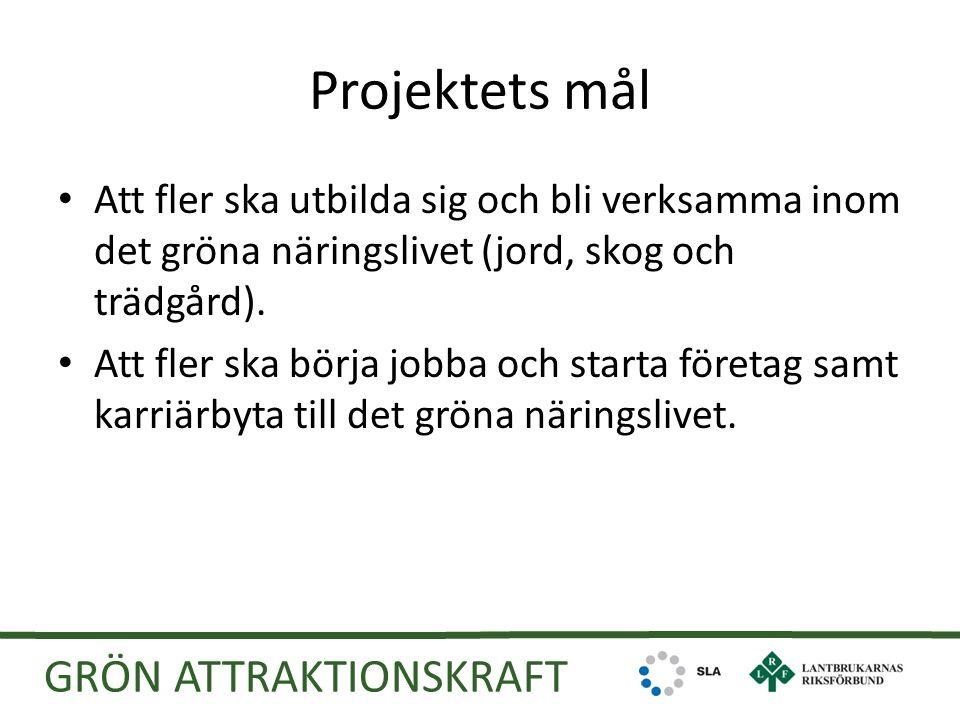Projektets mål Att fler ska utbilda sig och bli verksamma inom det gröna näringslivet (jord, skog och trädgård).