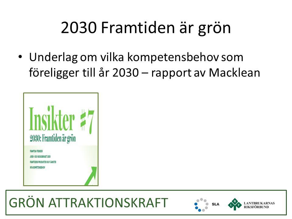 2030 Framtiden är grön Underlag om vilka kompetensbehov som föreligger till år 2030 – rapport av Macklean GRÖN ATTRAKTIONSKRAFT