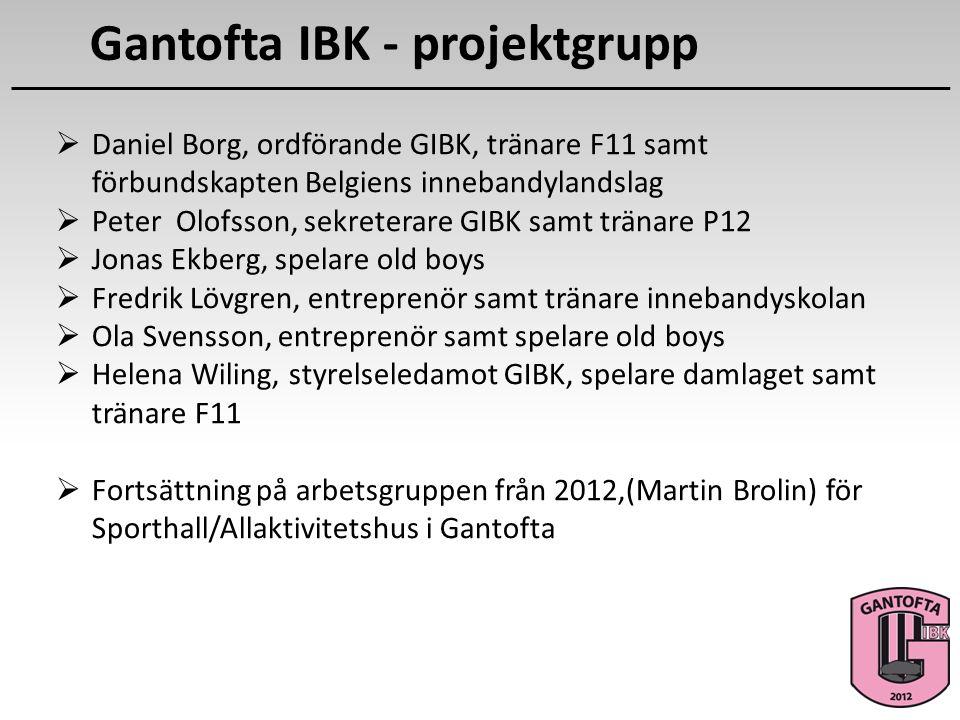 Gantofta IBK - projektgrupp  Daniel Borg, ordförande GIBK, tränare F11 samt förbundskapten Belgiens innebandylandslag  Peter Olofsson, sekreterare G