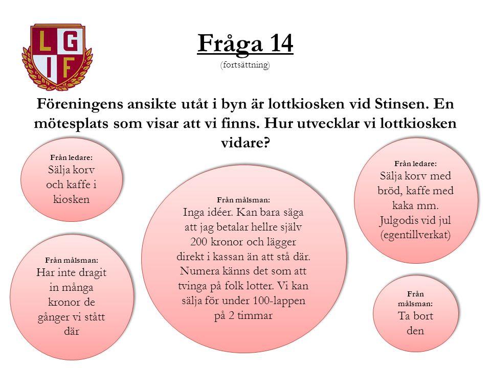 Fråga 14 (fortsättning) Föreningens ansikte utåt i byn är lottkiosken vid Stinsen. En mötesplats som visar att vi finns. Hur utvecklar vi lottkiosken