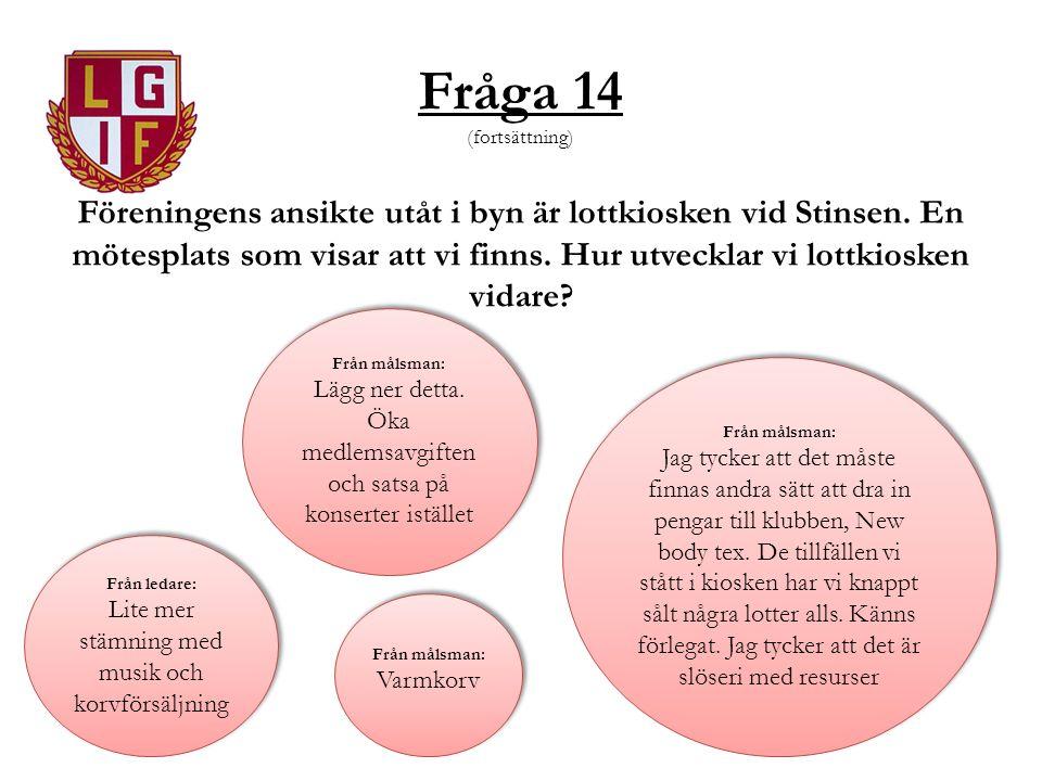 Fråga 14 (fortsättning) Föreningens ansikte utåt i byn är lottkiosken vid Stinsen.