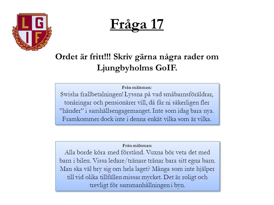 Fråga 17 Ordet är fritt!!! Skriv gärna några rader om Ljungbyholms GoIF. Från målsman: Swisha frallbetalningen! Lyssna på vad småbarnsföräldrar, tonår