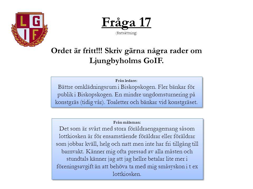 Fråga 17 (fortsättning) Ordet är fritt!!! Skriv gärna några rader om Ljungbyholms GoIF. Från ledare: Bättre omklädningsrum i Biskopskogen. Fler bänkar