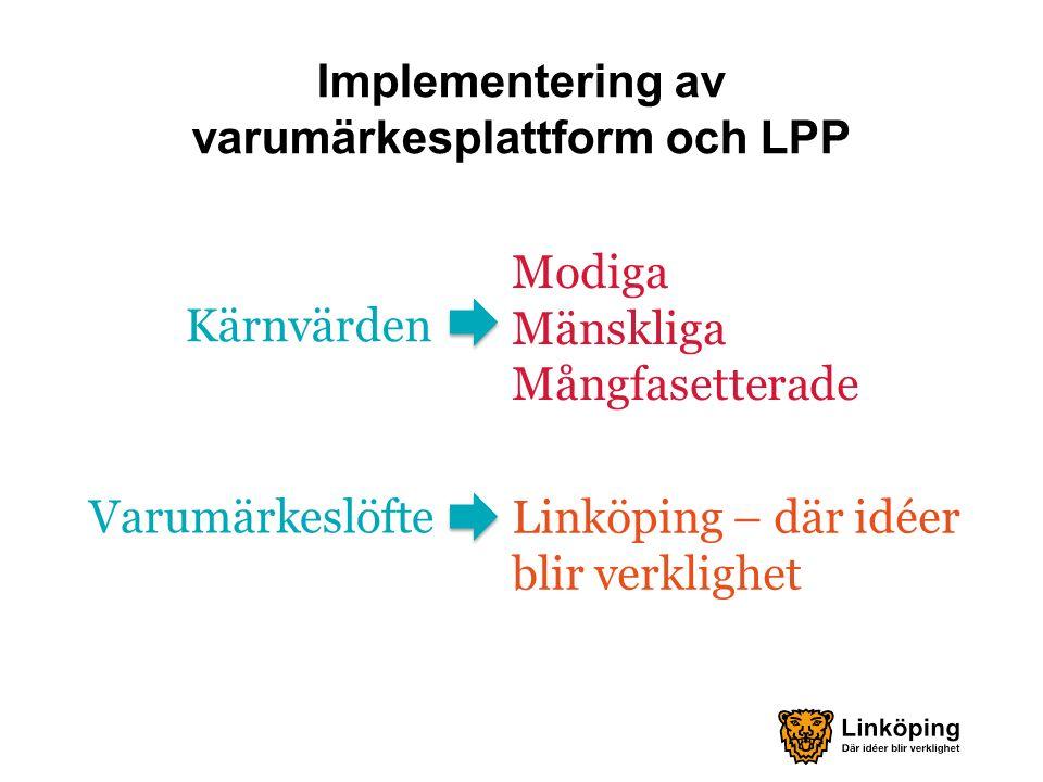 Modiga Mänskliga Mångfasetterade Implementering av varumärkesplattform och LPP Linköping – där idéer blir verklighet Kärnvärden Varumärkeslöfte