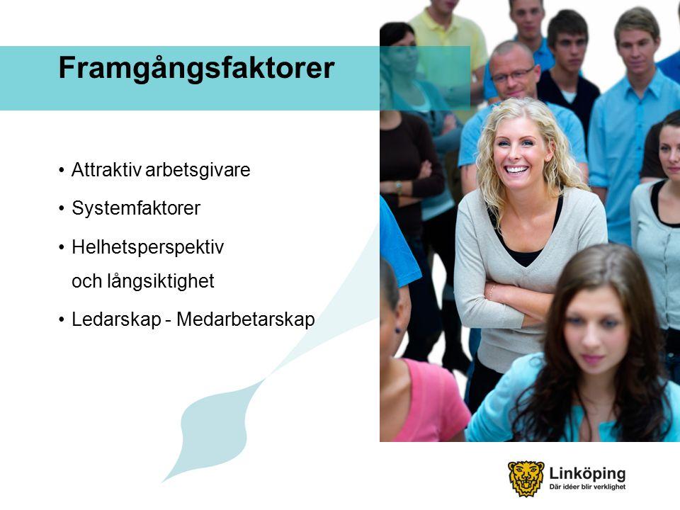 Framgångsfaktorer Attraktiv arbetsgivare Systemfaktorer Helhetsperspektiv och långsiktighet Ledarskap - Medarbetarskap