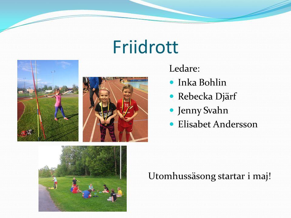 Friidrott Ledare: Inka Bohlin Rebecka Djärf Jenny Svahn Elisabet Andersson Utomhussäsong startar i maj!