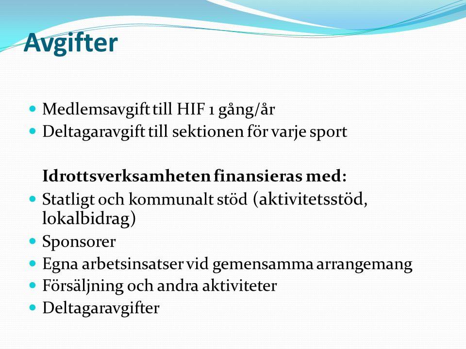 Avgifter Medlemsavgift till HIF 1 gång/år Deltagaravgift till sektionen för varje sport Idrottsverksamheten finansieras med: Statligt och kommunalt stöd (aktivitetsstöd, lokalbidrag) Sponsorer Egna arbetsinsatser vid gemensamma arrangemang Försäljning och andra aktiviteter Deltagaravgifter