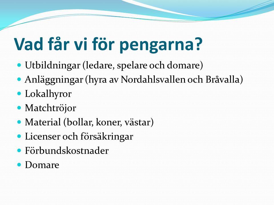 Vad får vi för pengarna? Utbildningar (ledare, spelare och domare) Anläggningar (hyra av Nordahlsvallen och Bråvalla) Lokalhyror Matchtröjor Material