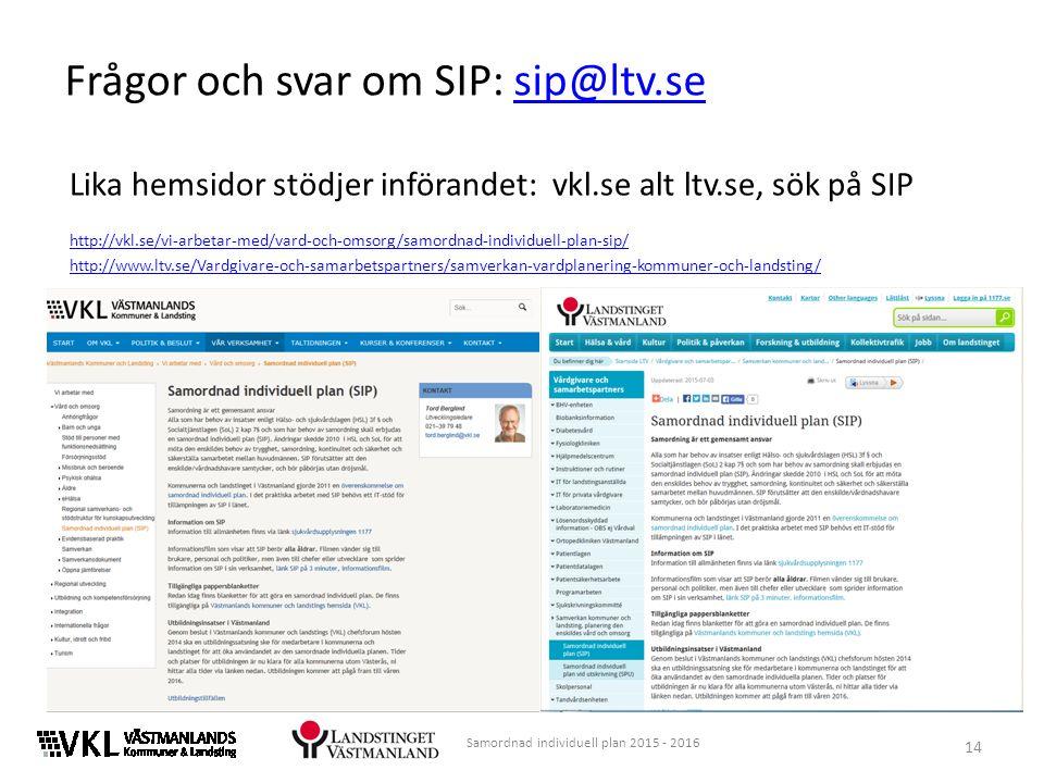 Lika hemsidor stödjer införandet: vkl.se alt ltv.se, sök på SIP http://vkl.se/vi-arbetar-med/vard-och-omsorg/samordnad-individuell-plan-sip/ http://www.ltv.se/Vardgivare-och-samarbetspartners/samverkan-vardplanering-kommuner-och-landsting/ 14 Samordnad individuell plan 2015 - 2016 Frågor och svar om SIP: sip@ltv.sesip@ltv.se