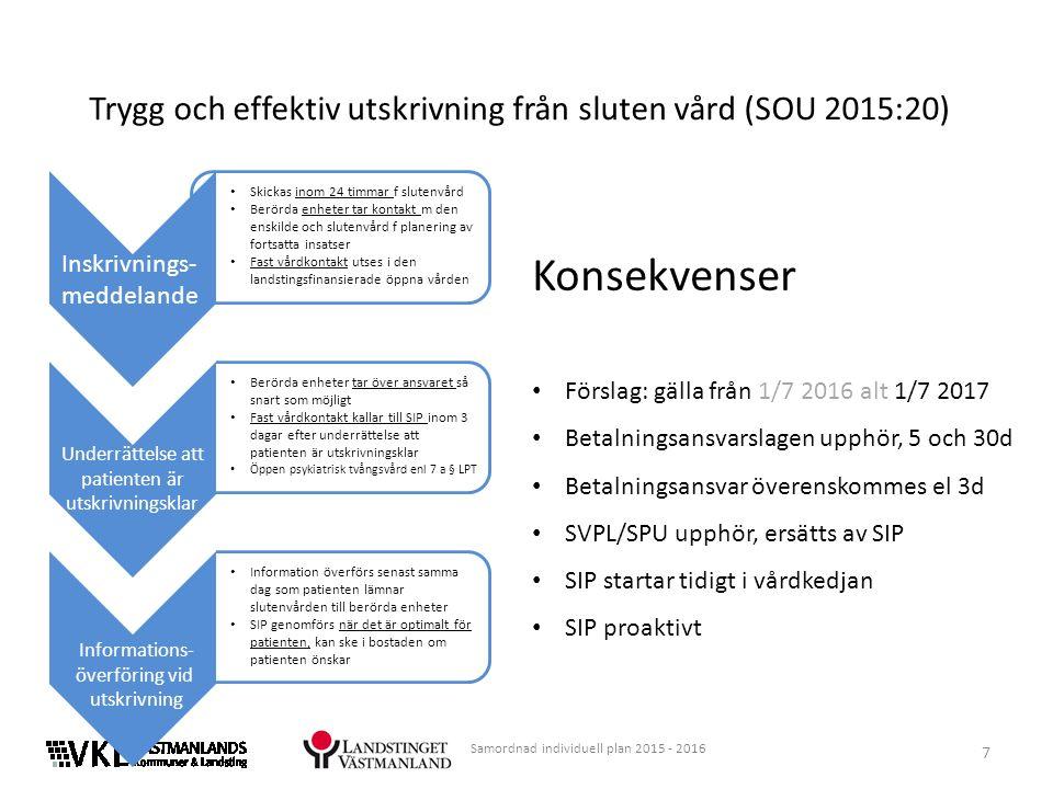 7 Samordnad individuell plan 2015 - 2016 Trygg och effektiv utskrivning från sluten vård (SOU 2015:20) Konsekvenser Förslag: gälla från 1/7 2016 alt 1