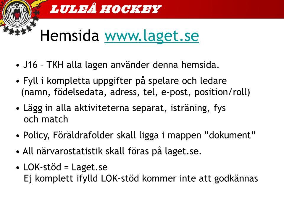 Hemsida www.laget.sewww.laget.se J16 – TKH alla lagen använder denna hemsida.