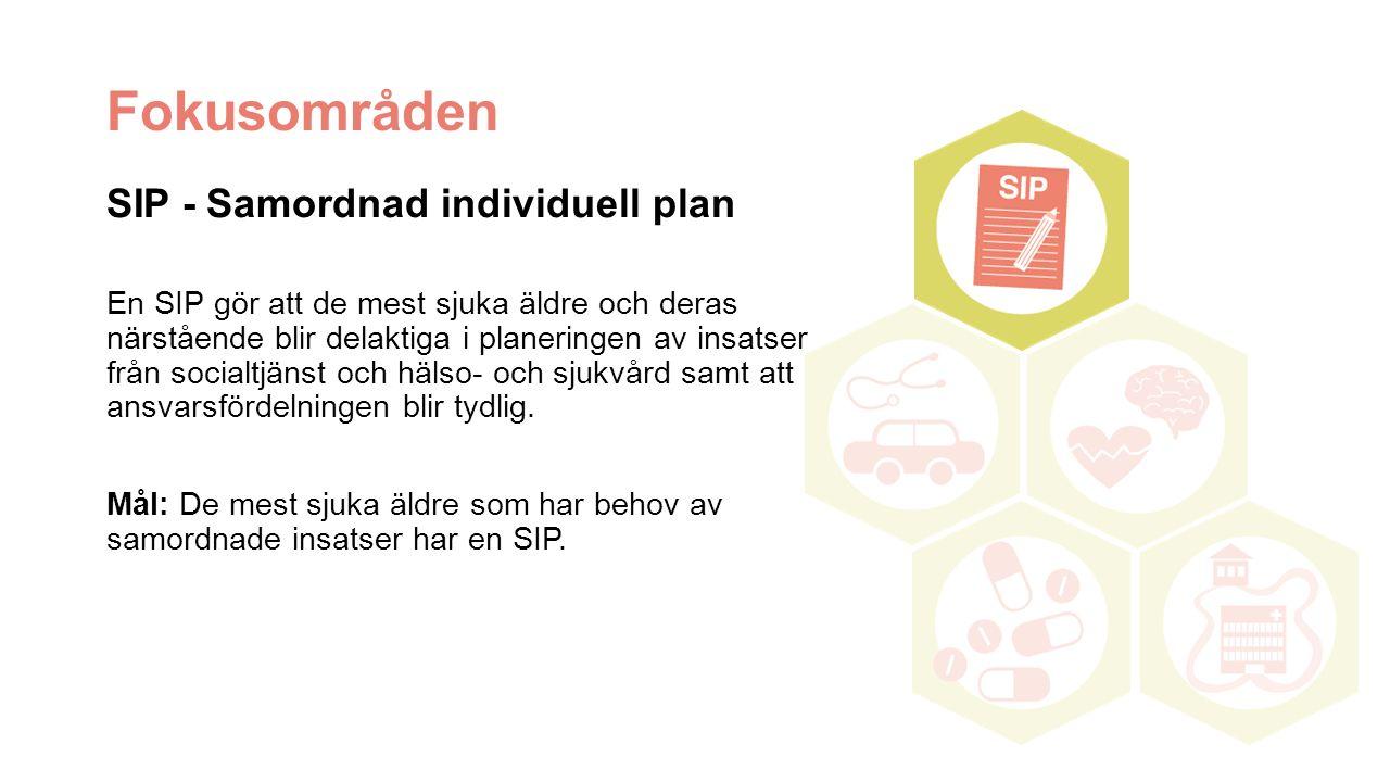 Fokusområden SIP - Samordnad individuell plan En SIP gör att de mest sjuka äldre och deras närstående blir delaktiga i planeringen av insatser från socialtjänst och hälso- och sjukvård samt att ansvarsfördelningen blir tydlig.