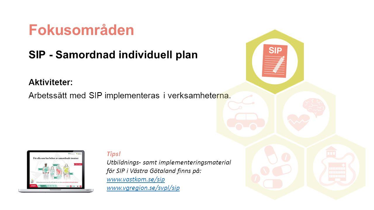 Fokusområden SIP - Samordnad individuell plan Aktiviteter: Arbetssätt med SIP implementeras i verksamheterna. Tips! Utbildnings- samt implementeringsm