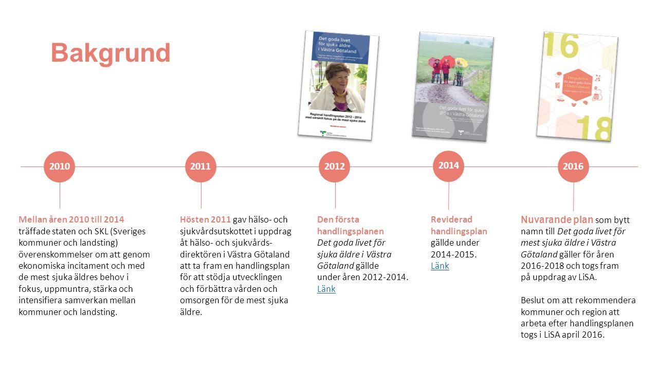 Bakgrund 2016 Mellan åren 2010 till 2014 träffade staten och SKL (Sveriges kommuner och landsting) överenskommelser om att genom ekonomiska incitament och med de mest sjuka äldres behov i fokus, uppmuntra, stärka och intensifiera samverkan mellan kommuner och landsting.