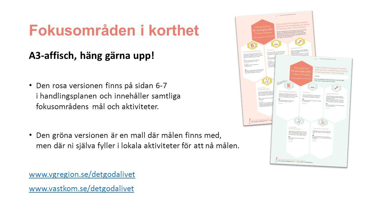 Fokusområden i korthet A3-affisch, häng gärna upp! Den rosa versionen finns på sidan 6-7 i handlingsplanen och innehåller samtliga fokusområdens mål o