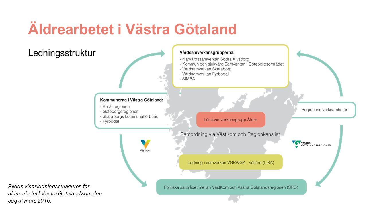 Äldrearbetet i Västra Götaland Ledningsstruktur Bilden visar ledningsstrukturen för äldrearbetet I Västra Götaland som den såg ut mars 2016.