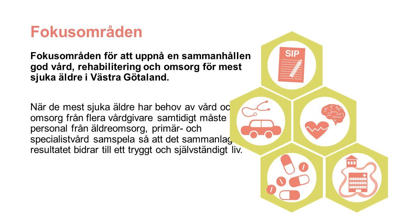 Fokusområden Fokusområden för att uppnå en sammanhållen god vård, rehabilitering och omsorg för mest sjuka äldre i Västra Götaland.