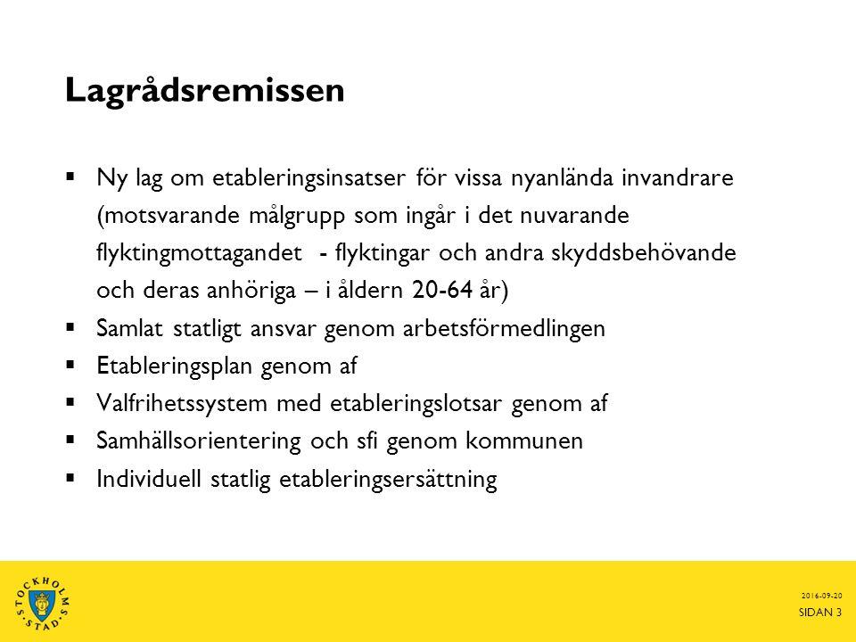 Lagrådsremissen  Ny lag om etableringsinsatser för vissa nyanlända invandrare (motsvarande målgrupp som ingår i det nuvarande flyktingmottagandet - flyktingar och andra skyddsbehövande och deras anhöriga – i åldern 20-64 år)  Samlat statligt ansvar genom arbetsförmedlingen  Etableringsplan genom af  Valfrihetssystem med etableringslotsar genom af  Samhällsorientering och sfi genom kommunen  Individuell statlig etableringsersättning 2016-09-20 SIDAN 3