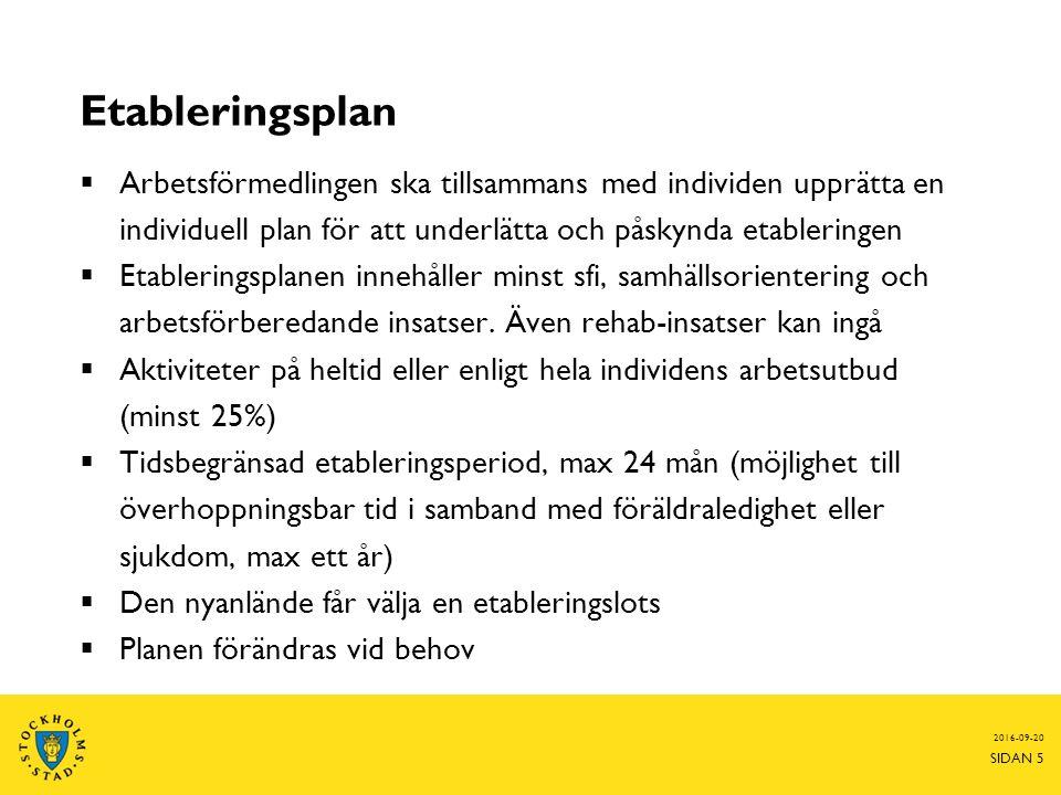 Etableringsplan  Arbetsförmedlingen ska tillsammans med individen upprätta en individuell plan för att underlätta och påskynda etableringen  Etableringsplanen innehåller minst sfi, samhällsorientering och arbetsförberedande insatser.