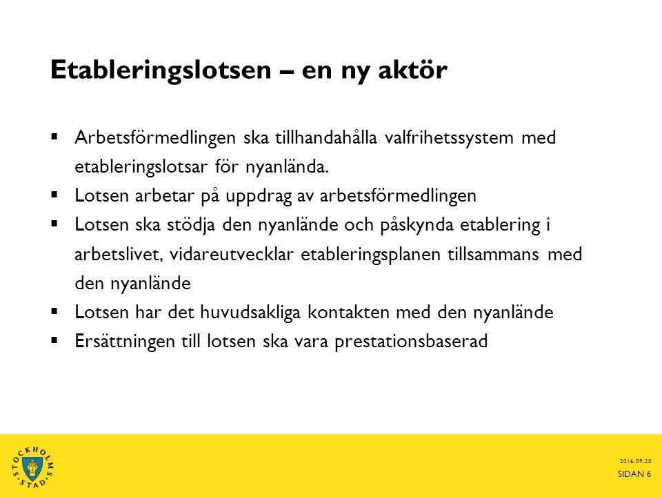 Etableringslotsen – en ny aktör  Arbetsförmedlingen ska tillhandahålla valfrihetssystem med etableringslotsar för nyanlända.