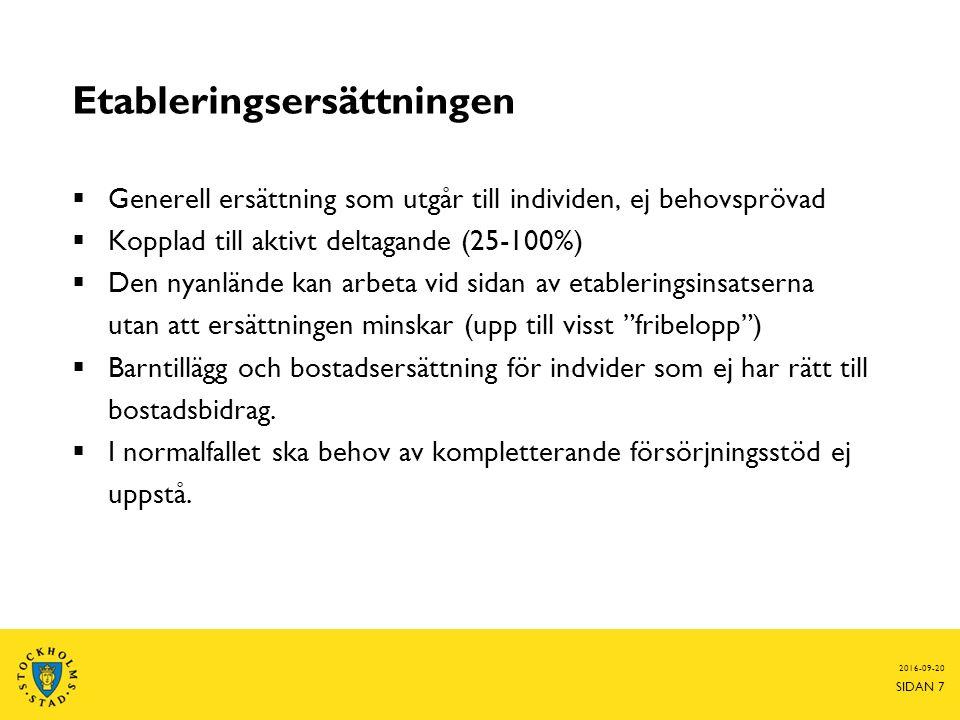 Etableringsersättningen  Generell ersättning som utgår till individen, ej behovsprövad  Kopplad till aktivt deltagande (25-100%)  Den nyanlände kan arbeta vid sidan av etableringsinsatserna utan att ersättningen minskar (upp till visst fribelopp )  Barntillägg och bostadsersättning för indvider som ej har rätt till bostadsbidrag.