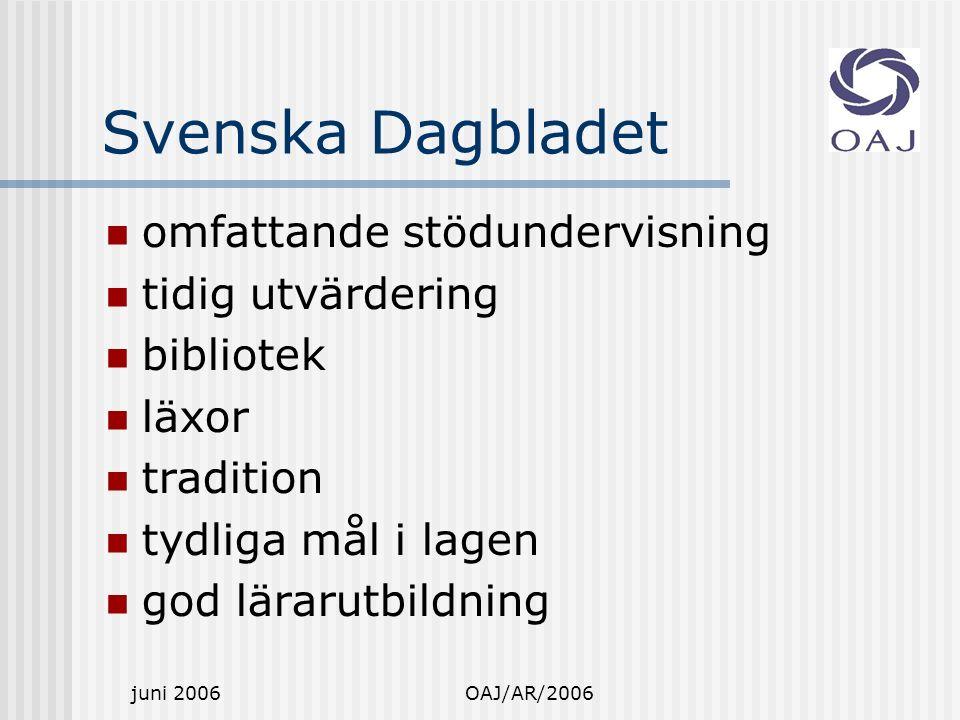 juni 2006OAJ/AR/2006 Svenska Dagbladet omfattande stödundervisning tidig utvärdering bibliotek läxor tradition tydliga mål i lagen god lärarutbildning