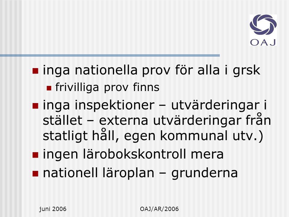 juni 2006OAJ/AR/2006 inga nationella prov för alla i grsk frivilliga prov finns inga inspektioner – utvärderingar i stället – externa utvärderingar från statligt håll, egen kommunal utv.) ingen lärobokskontroll mera nationell läroplan – grunderna