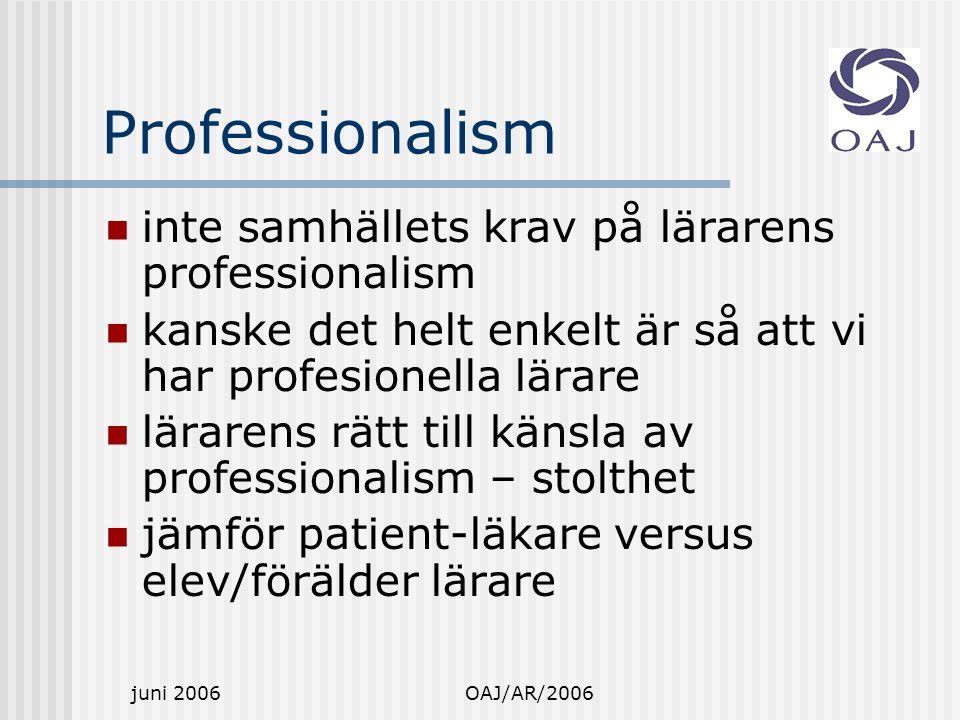 juni 2006OAJ/AR/2006 Professionalism inte samhällets krav på lärarens professionalism kanske det helt enkelt är så att vi har profesionella lärare lärarens rätt till känsla av professionalism – stolthet jämför patient-läkare versus elev/förälder lärare