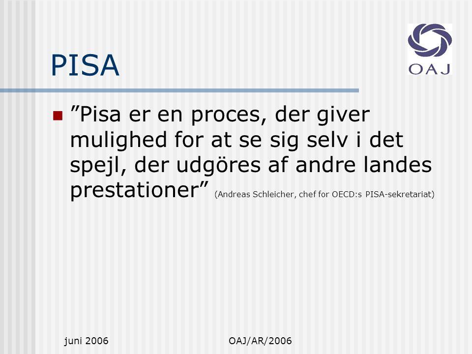 juni 2006OAJ/AR/2006 PISA Pisa er en proces, der giver mulighed for at se sig selv i det spejl, der udgöres af andre landes prestationer (Andreas Schleicher, chef for OECD:s PISA-sekretariat)