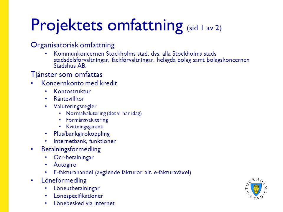Projektets omfattning (sid 1 av 2) Organisatorisk omfattning Kommunkoncernen Stockholms stad, dvs.
