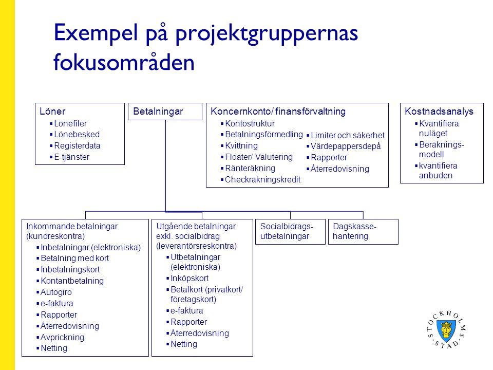 Exempel på projektgruppernas fokusområden Löner  Lönefiler  Lönebesked  Registerdata  E-tjänster BetalningarKostnadsanalys  Kvantifiera nuläget  Beräknings- modell  kvantifiera anbuden Koncernkonto/ finansförvaltning  Kontostruktur  Betalningsförmedling  Kvittning  Floater/ Valutering  Ränteräkning  Checkräkningskredit Socialbidrags- utbetalningar Inkommande betalningar (kundreskontra)  Inbetalningar (elektroniska)  Betalning med kort  Inbetalningskort  Kontantbetalning  Autogiro  e-faktura  Rapporter  Återredovisning  Avprickning  Netting Utgående betalningar exkl.