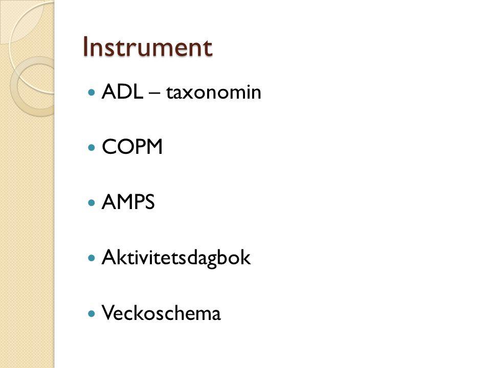 Instrument ADL – taxonomin COPM AMPS Aktivitetsdagbok Veckoschema