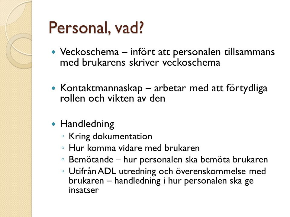 Personal, vad.