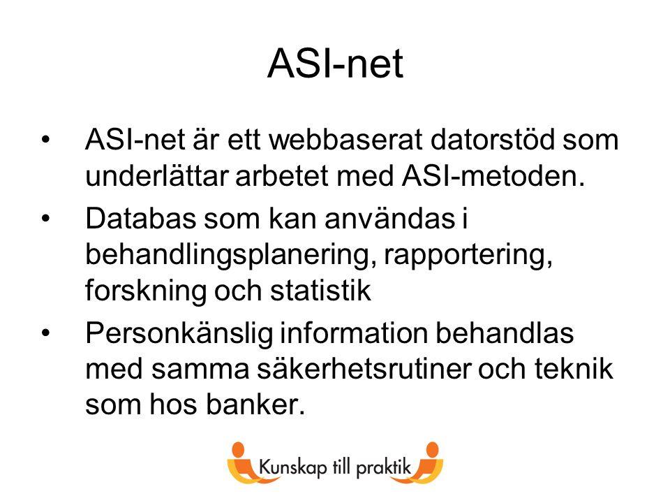 ASI-net ASI-net är ett webbaserat datorstöd som underlättar arbetet med ASI-metoden.