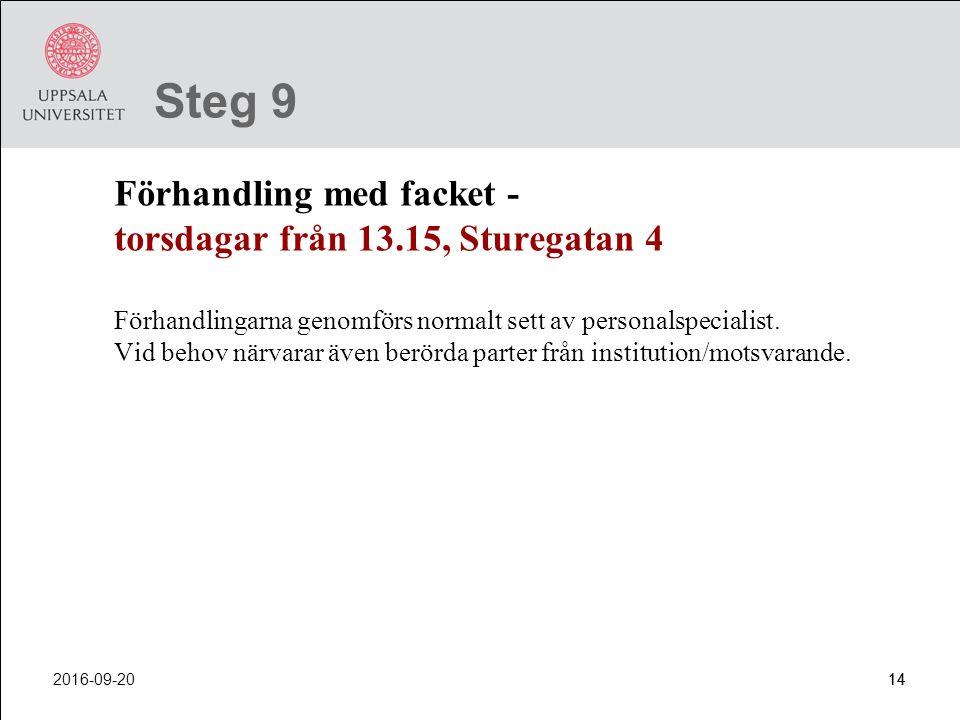 2016-09-2014 Steg 9 Förhandling med facket - torsdagar från 13.15, Sturegatan 4 Förhandlingarna genomförs normalt sett av personalspecialist. Vid beho