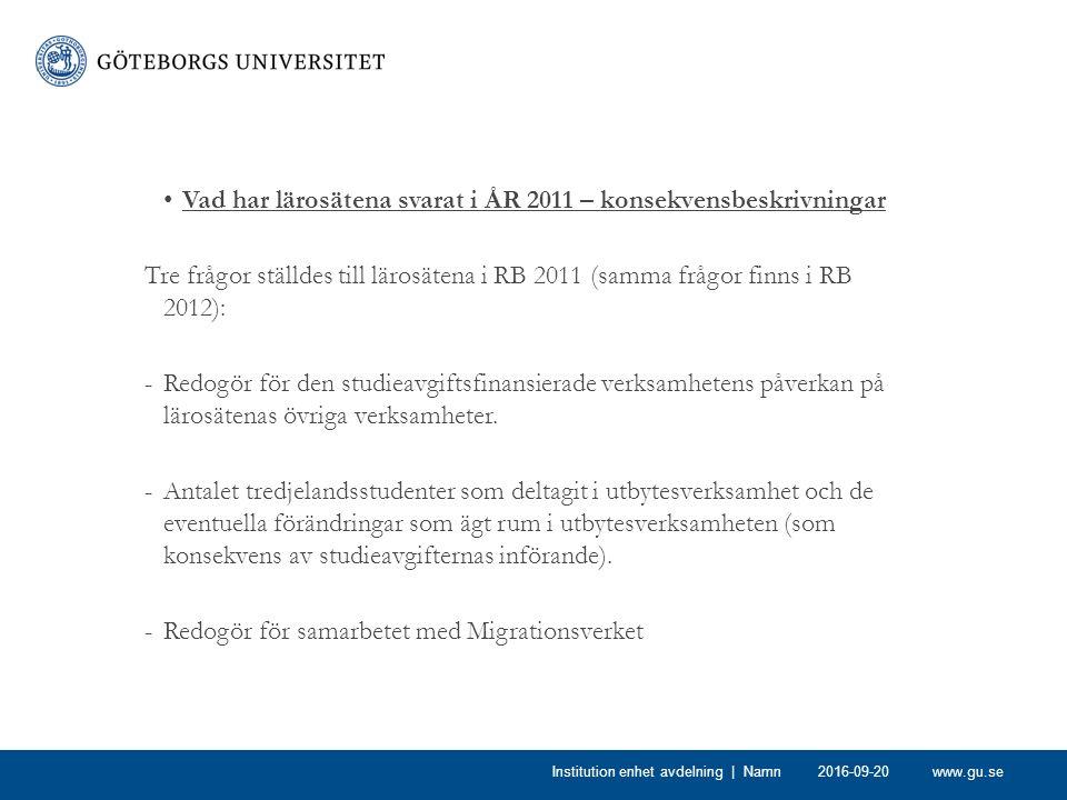 www.gu.se Vad har lärosätena svarat i ÅR 2011 – konsekvensbeskrivningar Tre frågor ställdes till lärosätena i RB 2011 (samma frågor finns i RB 2012): -Redogör för den studieavgiftsfinansierade verksamhetens påverkan på lärosätenas övriga verksamheter.