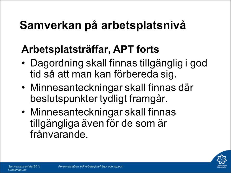 Samverkan på arbetsplatsnivå Arbetsplatsträffar, APT forts Dagordning skall finnas tillgänglig i god tid så att man kan förbereda sig.