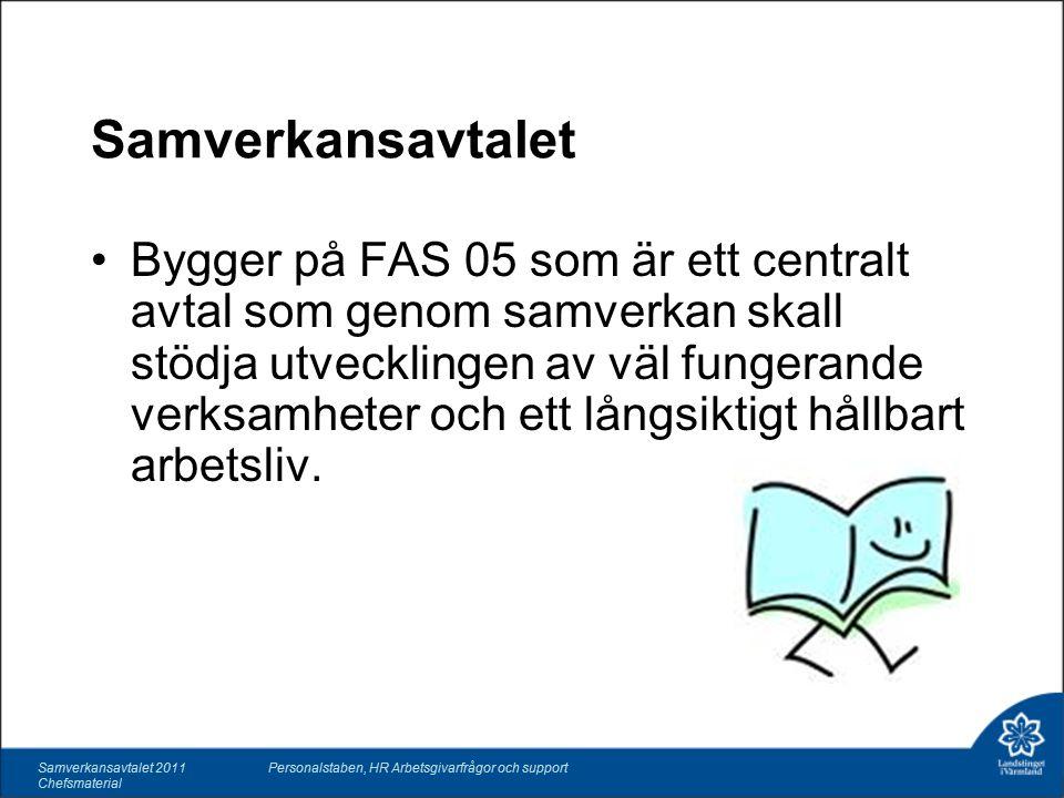 Samverkansavtalet 2011 Chefsmaterial Personalstaben, HR Arbetsgivarfrågor och support Samverkansavtalet Bygger på FAS 05 som är ett centralt avtal som genom samverkan skall stödja utvecklingen av väl fungerande verksamheter och ett långsiktigt hållbart arbetsliv.