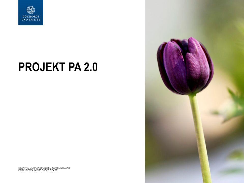 PROJEKT PA 2.0 STAFFAN GUNNARSSON DELPROJEKTLEDARE KARIN BERGLIND PROJEKTLEDARE