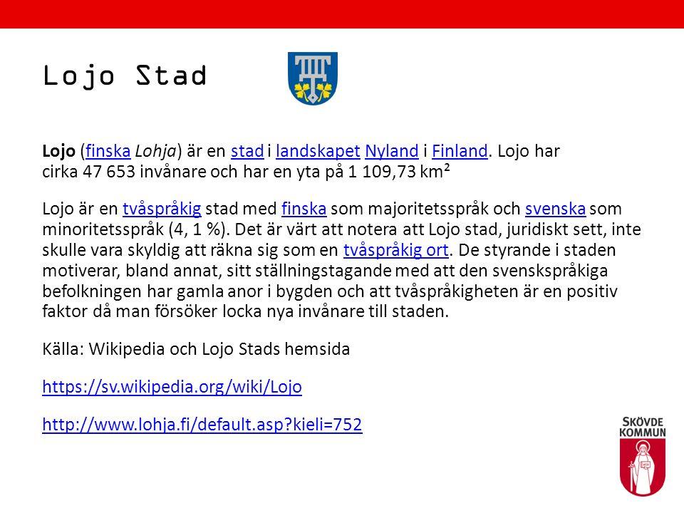 Lojo Stad Lojo (finska Lohja) är en stad i landskapet Nyland i Finland. Lojo har cirka 47 653 invånare och har en yta på 1 109,73 km²finskastadlandska