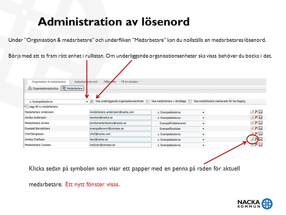"""Administration av lösenord Under """"Organisation & medarbetare"""" och underfliken """"Medarbetare"""" kan du nollställa en medarbetares lösenord. Börja med att"""