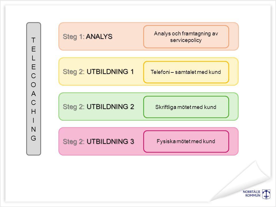Steg 1: ANALYS Steg 2: UTBILDNING 1 Analys och framtagning av servicepolicy Telefoni – samtalet med kund Steg 2: UTBILDNING 2 Steg 2: UTBILDNING 3 Skriftliga mötet med kund Fysiska mötet med kund