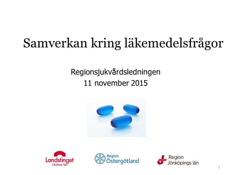 Samverkan kring läkemedelsfrågor Regionsjukvårdsledningen 11 november 2015 1