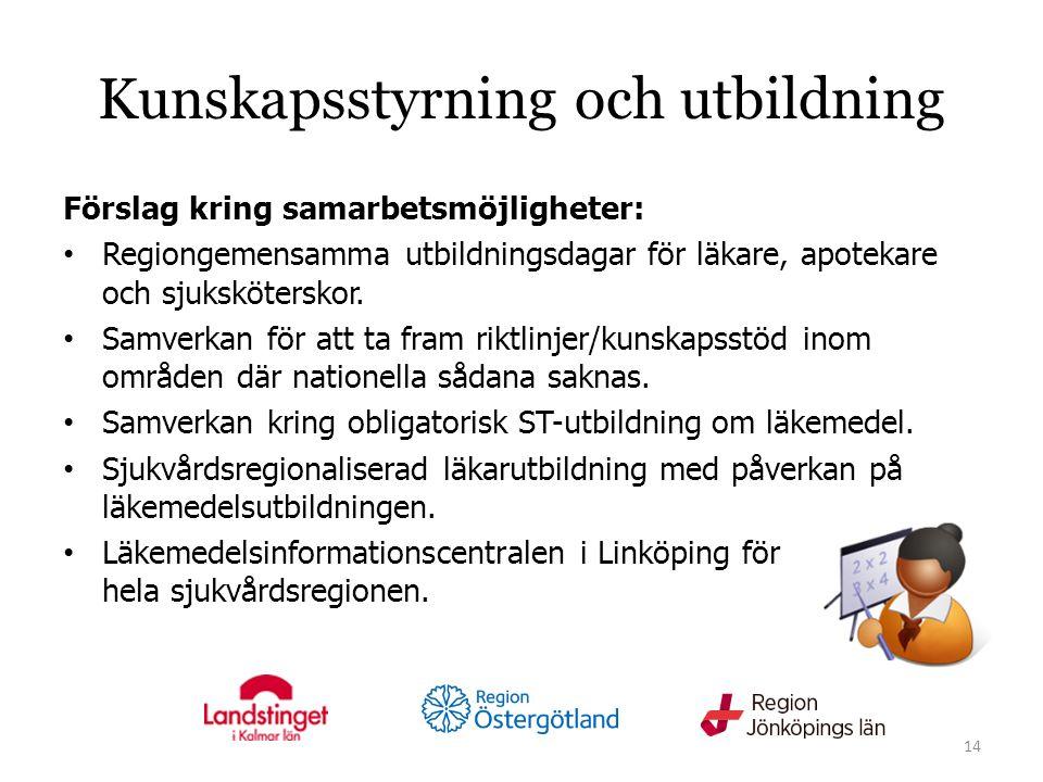 Kunskapsstyrning och utbildning Förslag kring samarbetsmöjligheter: Regiongemensamma utbildningsdagar för läkare, apotekare och sjuksköterskor.